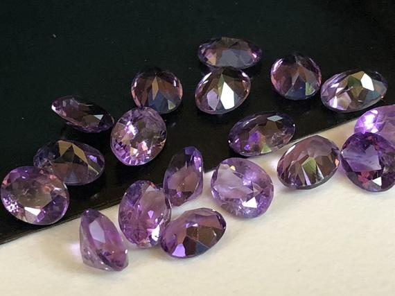 7x9mm African Amethyst Oval Cut Stone Lot, Natural Pointed Back Oval Faceted Amethyst, 18 Cts Loose Purple Amethyst For Jewelry - Ang66