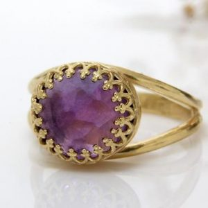Shop Amethyst Rings! Amethyst Ring, 14k Gold Filled Ring, gold Rings, february Birthstone Ring, february Stone Ring, gemstone Ring, delicate Ri | Natural genuine Amethyst rings, simple unique handcrafted gemstone rings. #rings #jewelry #shopping #gift #handmade #fashion #style #affiliate #ad