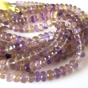 Shop Ametrine Beads! Ametrine Faceted Rondelle Beads, 8mm/9mm Ametrine Beads, Ametrine Gemstone beads, Loose Ametrine Beads, Natural Ametrine Beads, GDS1120 | Natural genuine beads Ametrine beads for beading and jewelry making.  #jewelry #beads #beadedjewelry #diyjewelry #jewelrymaking #beadstore #beading #affiliate #ad