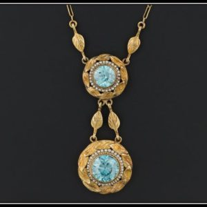 Shop Zircon Necklaces! Antique Blue Zircon Necklace | Antique Victorian Necklace | 14k Blue Zircon Necklace | 1800s Gold Necklace | December Birthstone Necklace | Natural genuine Zircon necklaces. Buy crystal jewelry, handmade handcrafted artisan jewelry for women.  Unique handmade gift ideas. #jewelry #beadednecklaces #beadedjewelry #gift #shopping #handmadejewelry #fashion #style #product #necklaces #affiliate #ad