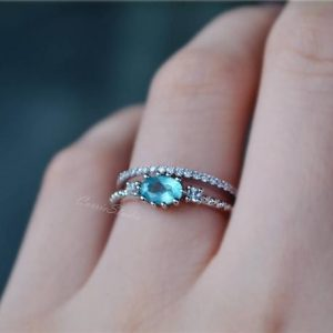 Shop Apatite Rings! 14k Gold Natural Apatite Ring 3 Stone Ring Set Engagement Ring Set Wedding Ring Promise / anniversary Ring Gift | Natural genuine Apatite rings, simple unique alternative gemstone engagement rings. #rings #jewelry #bridal #wedding #jewelryaccessories #engagementrings #weddingideas #affiliate #ad