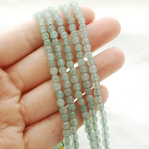 "Shop Aventurine Faceted Beads! High Quality Green Aventurine Semi-precious Gemstone FACETED Round Gemstone Beads – approx 4mm – 15.5"" long 