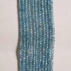 "Shop Zircon Beads! Bead Natural Blue Zircon 3mm round faceted 8"" each .beautiful and rare bead. designer quality.AAA grade. 