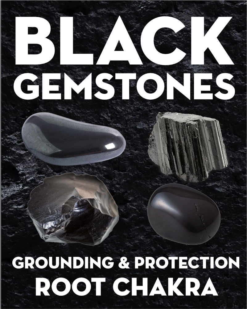 What Do Black Gemstones & Crystals Mean?. Learn the names and meanings of black gems and crystals including black tourmaline, hematite, jet, shungite, obsidian, and more. What do black gemstones mean? Black gemstones correspond to the first chakra, grounding, and protection. They each have different meanings, but many are used for purifying negative emotions, protection from negative energy, and connecting to the Earth through the root chakra. #gemstones #crystals #beadage