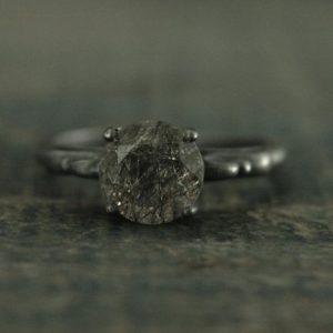Black Rutilated Quartz Ring Black Engagement Ring Alternative Engagement Ring Unique Engagement Ring Gothic Queen Ring Vintage Style Ring | Natural genuine Rutilated Quartz rings, simple unique alternative gemstone engagement rings. #rings #jewelry #bridal #wedding #jewelryaccessories #engagementrings #weddingideas #affiliate #ad