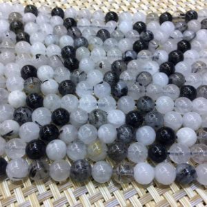 Shop Rutilated Quartz Round Beads! Black Rutilated Quartz Round Beads, 6mm 8mm 10mm 12mm Gemstone Loose Beads | Natural genuine round Rutilated Quartz beads for beading and jewelry making.  #jewelry #beads #beadedjewelry #diyjewelry #jewelrymaking #beadstore #beading #affiliate #ad