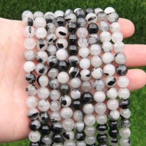 Shop Rutilated Quartz Round Beads! Black Rutilated Quartz Round Beads,Top Quality Rutilated Round Beads,6mm 8mm 10mm Round Gemstone Beads,Jewelry Gemstone Wholesale Beads. | Natural genuine round Rutilated Quartz beads for beading and jewelry making.  #jewelry #beads #beadedjewelry #diyjewelry #jewelrymaking #beadstore #beading #affiliate #ad
