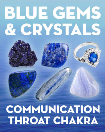 What Do Blue Gemstones & Crystals Mean?. Learn the names and meanings of light blue and dark blue gems and blue crystals including sapphire, sodalite, azurite, angelite, blue lace agate, kyanite, turquoise, larimar, and more. What do blue gemstones mean? Blue gemstones correspond to the throat chakra, communication, and clarity. They each have different meanings, but many are used for helping resolve conflict, speak from the heart, and achieve mental focus &am... #gemstones #crystals #beadage