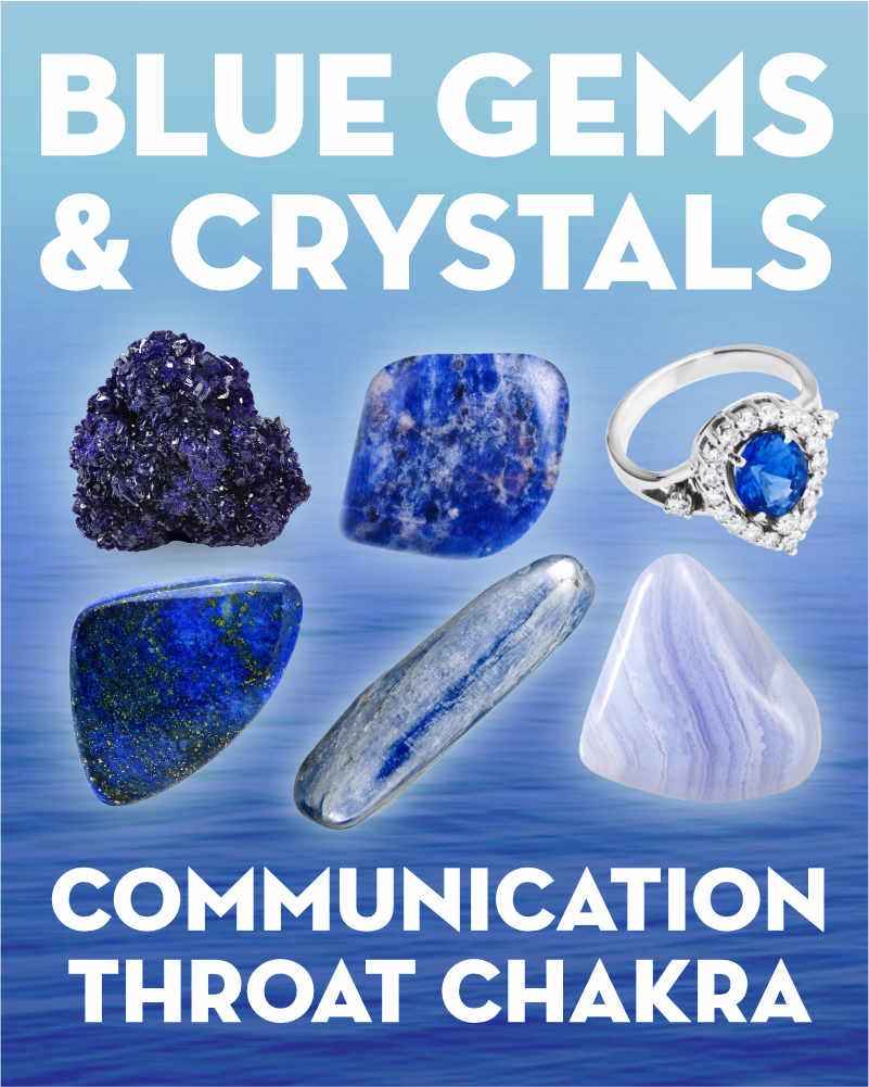 What Do Blue Gemstones & Crystals Mean?. Learn the names and meanings of light blue and dark blue gems and blue crystals including sapphire, sodalite, azurite, angelite, blue lace agate, kyanite, turquoise, larimar, and more.