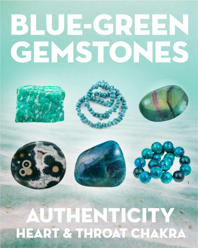 Blue Green Gemstones & Crystals. Blue-green gemstones are connected to both the heart and the throat chakra. They help you speak the truth from your heart. Scroll down for each stone's picture & meanings. Blue-green includes aqua, teal, and turquoise colored gems. What stones are blue green? The most consistently blue-green gemstones are amazonite, turquoise, chrysocolla, and apatite. Other stones like fluorite, jasper, and agate come in many color... #gemstones #crystals #beadage