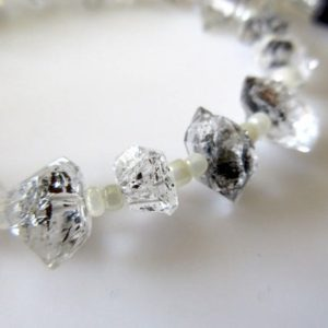 Shop Herkimer Diamond Beads! Centre Side Drilled Herkimer Diamond Nugget, Raw Herkimer Diamond Tumble Beads, 7mm To 8mm Each, 12 Inch Strand, GDS742 | Natural genuine chip Herkimer Diamond beads for beading and jewelry making.  #jewelry #beads #beadedjewelry #diyjewelry #jewelrymaking #beadstore #beading #affiliate #ad