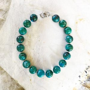 Shop Chrysocolla Necklaces! Ray Mine Chrysocolla 22mm Round Beaded Statement Necklace With Interlocking Ring Clasp – One Of A Kind Custom Cut | Natural genuine Chrysocolla necklaces. Buy crystal jewelry, handmade handcrafted artisan jewelry for women.  Unique handmade gift ideas. #jewelry #beadednecklaces #beadedjewelry #gift #shopping #handmadejewelry #fashion #style #product #necklaces #affiliate #ad
