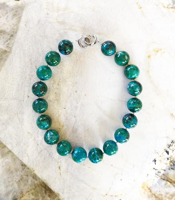 Ray Mine Chrysocolla 22mm Round Beaded Statement Necklace With Interlocking Ring Clasp - One Of A Kind Custom Cut