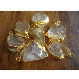 Raw Citrine Crystal Raw Gemstone Electroplated Connectors, Natural Citrine Connectors, Citrine Rough, 5 Pieces, 22mm To 30mm Approx | Natural genuine beads Array beads for beading and jewelry making.  #jewelry #beads #beadedjewelry #diyjewelry #jewelrymaking #beadstore #beading #affiliate #ad