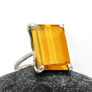 Shop Citrine Rings! Rectangle ring,silver ring,Citrine ring,double band ring,prong ring,gemstone ring,made of honor gift,bridal ring | Natural genuine Citrine rings, simple unique alternative gemstone engagement rings. #rings #jewelry #bridal #wedding #jewelryaccessories #engagementrings #weddingideas #affiliate #ad