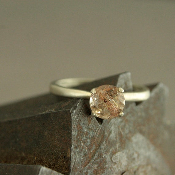 Copper Rutilated Quartz Ring Unique Engagement Ring Silver Engagement Ring Copper Stone Ring Clear Copper Ring Solitaire Ring Four Prong