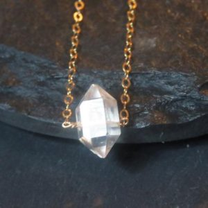 Shop Herkimer Diamond Necklaces! Custom Herkimer diamond necklace, terminated quartz herkimer necklace, raw diamond necklace, raw gemstone necklace | Natural genuine Herkimer Diamond necklaces. Buy crystal jewelry, handmade handcrafted artisan jewelry for women.  Unique handmade gift ideas. #jewelry #beadednecklaces #beadedjewelry #gift #shopping #handmadejewelry #fashion #style #product #necklaces #affiliate #ad