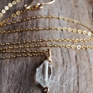 Shop Herkimer Diamond Pendants! Delicate Gold and Herkimer Diamond Pendant Necklace – Quartz Crystal Necklace – Minimalist Necklace – Gold Fill Necklace – Bridesmaid Gift | Natural genuine Herkimer Diamond pendants. Buy crystal jewelry, handmade handcrafted artisan jewelry for women.  Unique handmade gift ideas. #jewelry #beadedpendants #beadedjewelry #gift #shopping #handmadejewelry #fashion #style #product #pendants #affiliate #ad