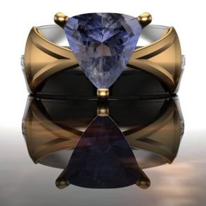"Iolite and Diamond Trillion Ring, White and Yellow Gold with Viking Sunstone | ""Knarr"" 