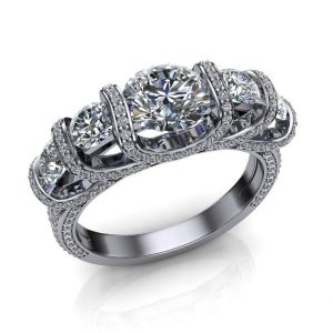 Luxury Engagement Ring, 5 Diamond Trellis Style with Accented Settings in Platinum | Natural genuine Gemstone rings, simple unique alternative gemstone engagement rings. #rings #jewelry #bridal #wedding #jewelryaccessories #engagementrings #weddingideas #affiliate #ad