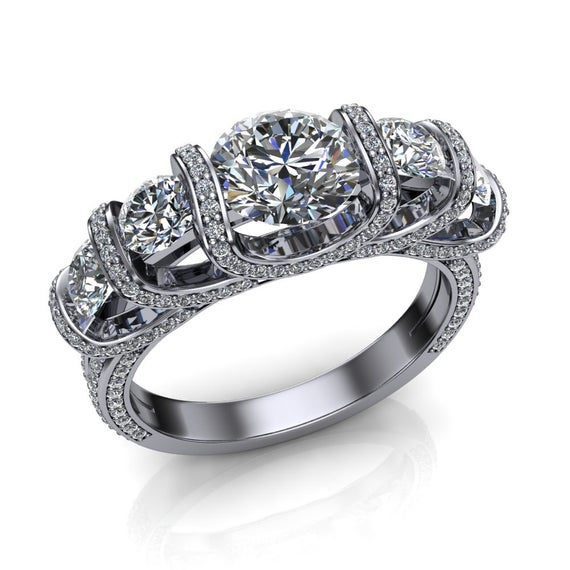Luxury Engagement Ring, 5 Diamond Trellis Style With Accented Settings In Platinum