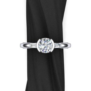One Carat Diamond Engagement Ring, 3 Stone Design with Baguette Side Diamonds and Half Bezel Setting | Natural genuine Array rings, simple unique alternative gemstone engagement rings. #rings #jewelry #bridal #wedding #jewelryaccessories #engagementrings #weddingideas #affiliate #ad