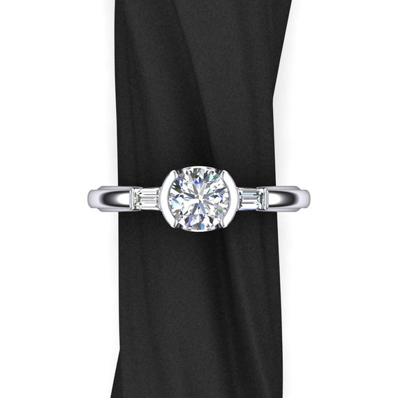 One Carat Diamond Engagement Ring, 3 Stone Design With Baguette Side Diamonds And Half Bezel Setting