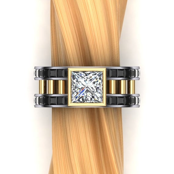 Same Sex 2 Carat Diamond Engagement Ring In Two Tone Platinum And Gold- Masculine Ring