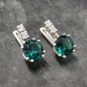 Emerald Earrings, Created Emerald, Green Round Earrings, Green Diamond Earrings, Bridal Earrings, Vintage Earrings, Solid Silver Earrings | Natural genuine Gemstone earrings. Buy handcrafted artisan wedding jewelry.  Unique handmade bridal jewelry gift ideas. #jewelry #beadedearrings #gift #crystaljewelry #shopping #handmadejewelry #wedding #bridal #earrings #affiliate #ad