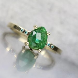 Delicate Rose Cut Green Emerald Blue Diamond Engagement Ring 14K Yellow Gold Modern Minimalist 4 Prong Band May Birthstone – Estrella Verde | Natural genuine Gemstone rings, simple unique alternative gemstone engagement rings. #rings #jewelry #bridal #wedding #jewelryaccessories #engagementrings #weddingideas #affiliate #ad