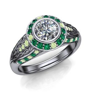 Flawless Diamond Engagement Ring | Half Carat with Green Diamonds and Emeralds | USA Custom Made | Natural genuine Gemstone rings, simple unique alternative gemstone engagement rings. #rings #jewelry #bridal #wedding #jewelryaccessories #engagementrings #weddingideas #affiliate #ad
