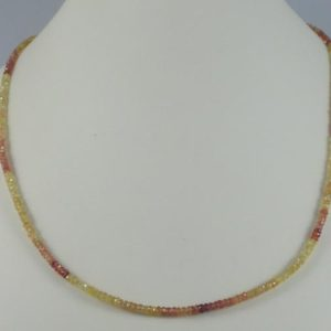 Shop Yellow Sapphire Necklaces! Faceted Yellow/orange Sapphire Necklace | Natural genuine Yellow Sapphire necklaces. Buy crystal jewelry, handmade handcrafted artisan jewelry for women.  Unique handmade gift ideas. #jewelry #beadednecklaces #beadedjewelry #gift #shopping #handmadejewelry #fashion #style #product #necklaces #affiliate #ad