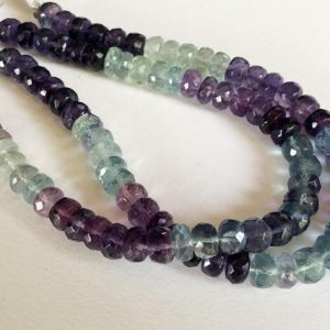 Shop Fluorite Beads! 8 Inch Fluorite Faceted Rondelle Beads, 6.5-7mm Natural Multi Fluorite Beads, 42 Pcs Fluorite Necklace – PNG12 | Natural genuine beads Fluorite beads for beading and jewelry making.  #jewelry #beads #beadedjewelry #diyjewelry #jewelrymaking #beadstore #beading #affiliate #ad
