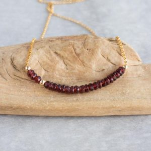 Garnet Beaded Necklace, January Birthstone Jewelry Gifts For Mom | Natural genuine Array jewelry. Buy crystal jewelry, handmade handcrafted artisan jewelry for women.  Unique handmade gift ideas. #jewelry #beadedjewelry #beadedjewelry #gift #shopping #handmadejewelry #fashion #style #product #jewelry #affiliate #ad