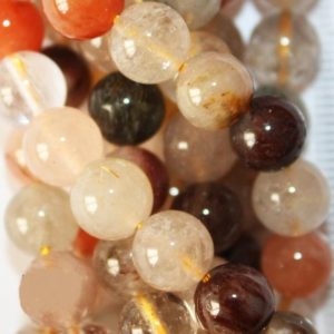 "Shop Rutilated Quartz Round Beads! Genuine Rutilated Quartz Mix Multi Color beads 8 mm – Gemstone Beads – Full Strand 16"", 51 beads, AA-Quality, Item 1 