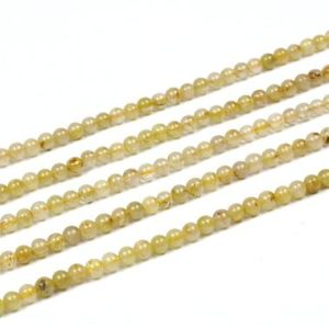 "Shop Rutilated Quartz Round Beads! Golden rutilated quartz beads,round beads,gemstone beads,natural beads,semiprecious beads,jewelry making beads,raw beads  – 16"" Full Strand 