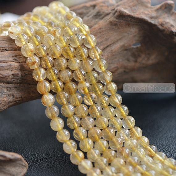 Grade A Natural Gold Rutilated Quartz Beads Not Dyed 5mm 5.5mm 6mm 7mm 7.5mm Smooth Polished Round 15 Inch Strand Rq06