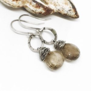 Shop Rutilated Quartz Earrings! Hammered Silver Earrings Everyday Dangle Earrings Rutilated Quartz Earrings Golden Gemstone Earrings Graduation Gift – Ready to Ship | Natural genuine Rutilated Quartz earrings. Buy crystal jewelry, handmade handcrafted artisan jewelry for women.  Unique handmade gift ideas. #jewelry #beadedearrings #beadedjewelry #gift #shopping #handmadejewelry #fashion #style #product #earrings #affiliate #ad