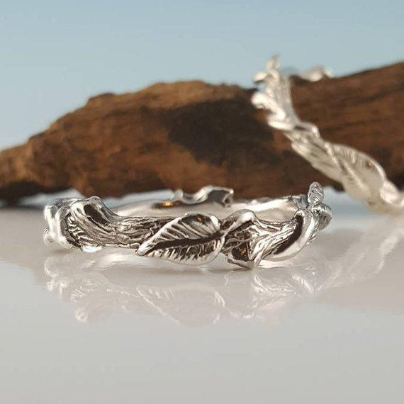 Hand Sculpted Silver Leaf Ring - Vine Ring - Sterling Silver Ring - Feather Ring - Hematite Ring