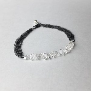 Shop Herkimer Diamond Bracelets! Herkimer Diamond Bracelet, Crystal Quartz Multi Layering Chain Bracelet, 7 Inch April Birthstone Gifts For Women, Valentine Girlfriend Gift | Natural genuine Herkimer Diamond bracelets. Buy crystal jewelry, handmade handcrafted artisan jewelry for women.  Unique handmade gift ideas. #jewelry #beadedbracelets #beadedjewelry #gift #shopping #handmadejewelry #fashion #style #product #bracelets #affiliate #ad