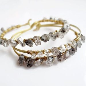 Shop Herkimer Diamond Bracelets! Herkimer Diamond Bracelet, Gemstone Beaded Bangle Bracelet, Gift Idea for Her, Crystal Wrap Bracelet, Gemstone Bracelet | Natural genuine Herkimer Diamond bracelets. Buy crystal jewelry, handmade handcrafted artisan jewelry for women.  Unique handmade gift ideas. #jewelry #beadedbracelets #beadedjewelry #gift #shopping #handmadejewelry #fashion #style #product #bracelets #affiliate #ad