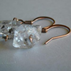 Shop Herkimer Diamond Earrings! Herkimer Diamond Earrings * Rose Gold Herkimer Earrings * Dainty Herkimer Earrings * April Birthstone * Rough Gemstone * Raw Stone * | Natural genuine Herkimer Diamond earrings. Buy crystal jewelry, handmade handcrafted artisan jewelry for women.  Unique handmade gift ideas. #jewelry #beadedearrings #beadedjewelry #gift #shopping #handmadejewelry #fashion #style #product #earrings #affiliate #ad