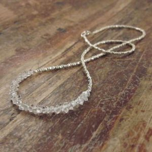 Herkimer Diamond Necklace Herkimer Necklace April Birthstone Necklace Herkimer Diamond Necklaces Raw Crystal Beaded Necklaces Womens Gift