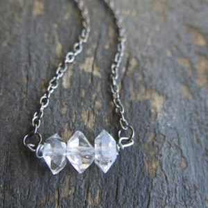 Shop Herkimer Diamond Necklaces! Herkimer Diamond Necklace Minimal Crystal For Her Mom Mother Sparkle Aries Zodiac Wife Birthstone Stone Girlfriend Mom Birthday April | Natural genuine Herkimer Diamond necklaces. Buy crystal jewelry, handmade handcrafted artisan jewelry for women.  Unique handmade gift ideas. #jewelry #beadednecklaces #beadedjewelry #gift #shopping #handmadejewelry #fashion #style #product #necklaces #affiliate #ad