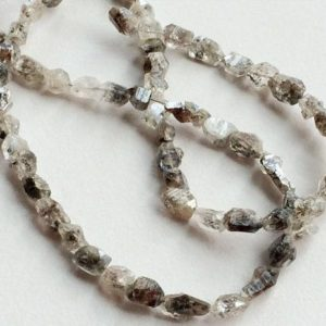 Herkimer Diamond Quartz, Raw Diamond Quartz, Rough Diamond Quartz, Diamond Quartz Necklace, Diamond Quartz Nuggets, 7-9mm, 29 Pieces | Natural genuine beads Herkimer Diamond beads for beading and jewelry making.  #jewelry #beads #beadedjewelry #diyjewelry #jewelrymaking #beadstore #beading #affiliate #ad
