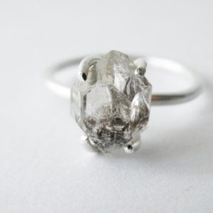 Shop Healing Gemstone Rings! Large Herkimer Diamond Ring Sterling Silver Stacking Ring Engagement Ring by SteamyLab | Natural genuine Gemstone rings, simple unique alternative gemstone engagement rings. #rings #jewelry #bridal #wedding #jewelryaccessories #engagementrings #weddingideas #affiliate #ad