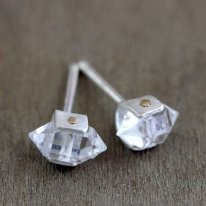 Shop Herkimer Diamond Earrings! Herkimer Diamond Stud Earrings / Riveted Setting in Gold and Silver | Natural genuine Herkimer Diamond earrings. Buy crystal jewelry, handmade handcrafted artisan jewelry for women.  Unique handmade gift ideas. #jewelry #beadedearrings #beadedjewelry #gift #shopping #handmadejewelry #fashion #style #product #earrings #affiliate #ad
