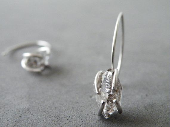 Herkimer Diamonds Earrings Sterling Silver Dangle Earrings Zen Jewelry By Steamylab