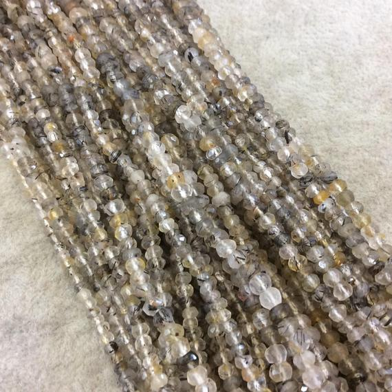 """Holiday Special! 3-4mm X 3-4mm Faceted Natural Gold Rutilated Quartz  Rondelle Beads - 13"""" Strand (~ 125 Beads)"""