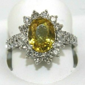 Shop Yellow Sapphire Rings! Huge Oval Yellow Sapphire & Diamond Halo Lady's Ring 14k White Gold 4.27Ct   Natural genuine Yellow Sapphire rings, simple unique handcrafted gemstone rings. #rings #jewelry #shopping #gift #handmade #fashion #style #affiliate #ad